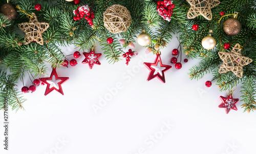 Fotografia  Festive Christmas border, isolated on white background