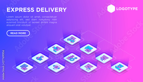 Express delivery web page template with thin isometric line icons