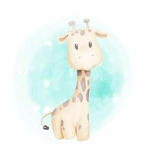 Baby Giraffe Cute Portrait Wat...
