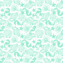 Green Line Art Seahorse, Starfish And Seashell Seamless Vector Pattern On White Background.
