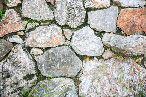 Stone texture background. Wall outdoors.