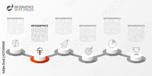 Photographie  Infographic design template. Creative concept with 6 steps