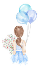 Girl Holding Bouquet Of Summer Flowers And Balloons. Hand Drawn Watercolor Illustration