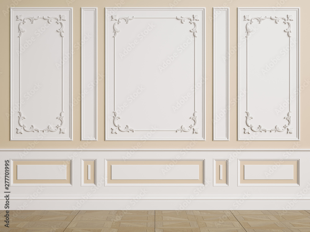 Fototapeta Classic interior wall with mouldings