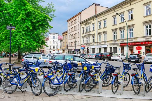 Fototapeta KRAKOW,POLAND - MAY 11, 2018: Bike station by the Krakowska street obraz