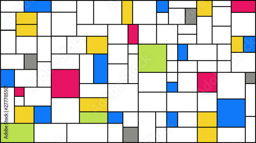 Photo  Neoplasticism (Piet Mondrian) imitation pattern with 2019 trend colors