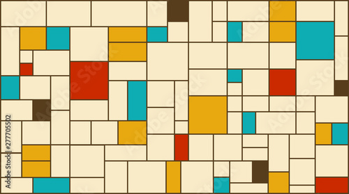 Photo  Neoplasticism (Piet Mondrian) imitation pattern with retro colors