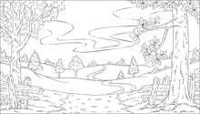 Coloring Book Landscape. Hand ...