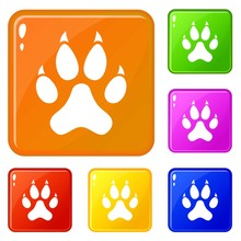 Cat Paw Icons Set Collection V...