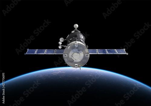 Valokuvatapetti Spacecraft Orbiting Earth. 3D Illustration.