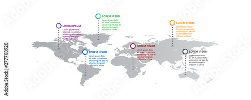 Fotografía world map Infographic template with icons options