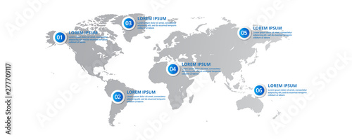 Fotomural world map Infographic template with icons options