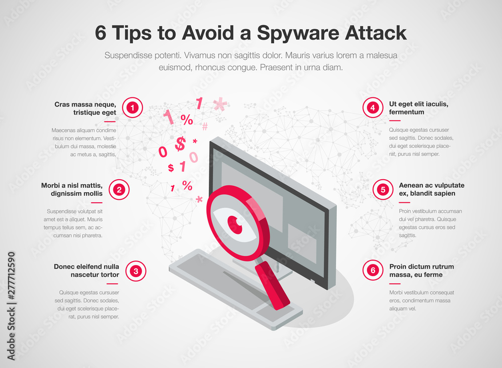 Fototapeta Simple infographic template for 6 tips to avoid a spyware attack, isolated on light background. Easy to use for your website or presentation.