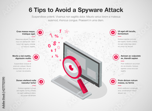 Fotomural Simple infographic template for 6 tips to avoid a spyware attack, isolated on light background