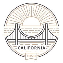 Linear Golden Gate Bridge In San Francisco Against The Sun As An Emblem
