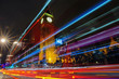 Big ben with car light trail at night, London, England