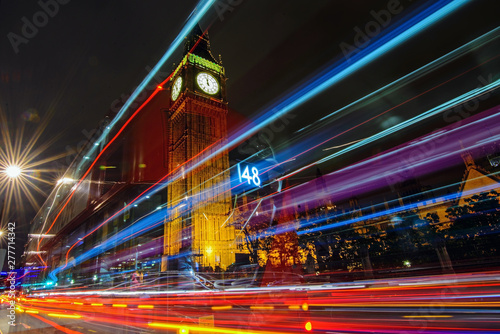 Big ben with car light trail at night, London, England
