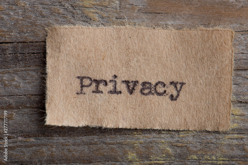 Fotografía Personal data or property privacy concept single word privacy typed on a paper