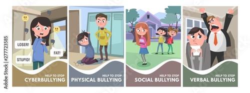 Stop bullying posters set Wallpaper Mural