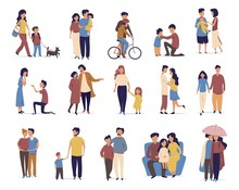 Family And Friends Leisure And Activity In Cartoon Flat Style. People Daily Lifestile And Communication With Family Or Friends. Walking A Dog, Rifing A Bike, Walking In The Rain, Falling In Love.