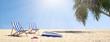 Paar Liegen an Strand mit Palme unter blauem Himmel