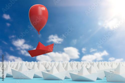 Photo Aufstieg und Führung Konzept mit Papierboot