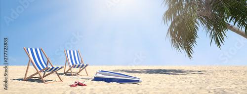 Deurstickers Graffiti collage Paar Liegen an Strand mit Palme unter blauem Himmel