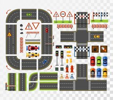Racing Game Asset In Flat Style. Top View Of Roads, Cards, Signs. Road Constructor For Game Design With Simple And Racing Cars. Road Signs Stop,road Repair Elements,traffic Light, Finish,start Signs.
