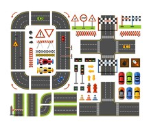 Road Constructor Top View In Flat Style For Game Design Isolated On White Background. Vector City Road Elements Isolated On White Background. Vector Illustration