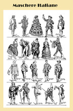 Vintage Black And White Table: Italian Commedia Dell'Arte Characters