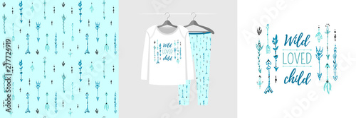 obraz lub plakat Seamless pattern and illustration for kid with arrows and quote Wild loved child. Cute design pajamas on hanger. Baby background for clothes, room birthday decor, t-shirt print, kids wear fashion