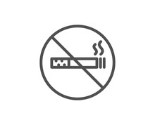 No Smoking Line Icon. Stop Smo...