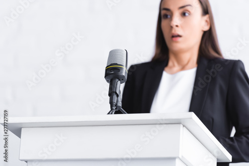 selective focus of scared young lecturer, suffering from fear of public speaking Canvas