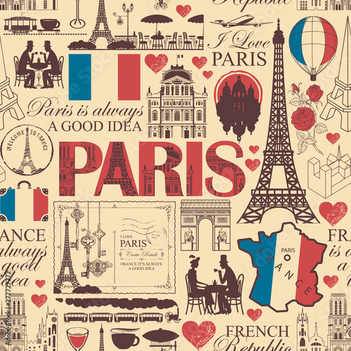 Obrazy z napisami  vector-seamless-pattern-on-france-and-paris-theme-with-drawings-inscriptions-architectural