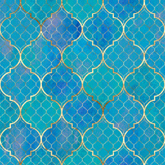 FototapetaWatercolor abstract geometric seamless pattern. Arab tiles. Kaleidoscope effect. Watercolour vintage mosaic texture