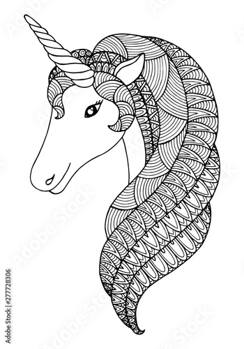 Decorative zentangle unicorn  Vector template for greeting