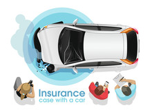 The Insurance Agent And The Photographer Investigate And Photograph The Broken White Car In The Presence Of The Owner And Process Insurance Documents