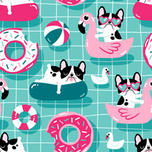 Seamless Vector Pattern With Cute Dogs With Pool Floats In A Swimming Pool.
