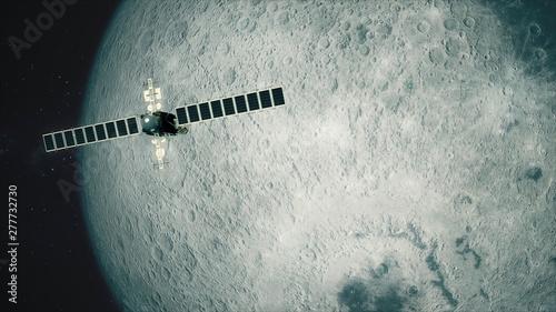 Satellite Telescope Passes Moon Canvas Print