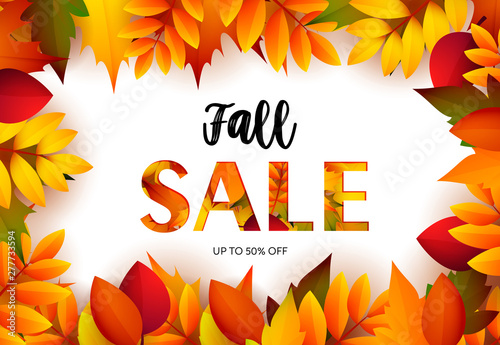 Fall sale retail banner design with maple leaves  Text in frame and