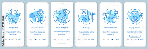 Photo  Buyer persona blue onboarding mobile app page screen vector template