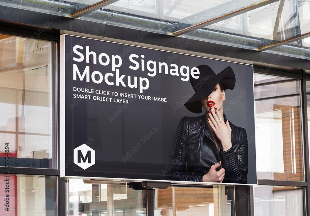 Fototapety, obrazy: Shop Sign on Window Mockup