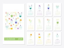 Calendar 2020 Set With Cactus ...