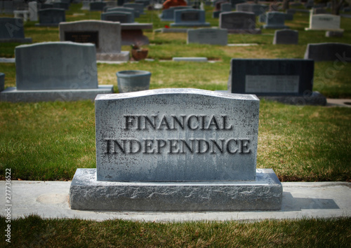 Valokuvatapetti Death of Financial Independence Gravestone Cemetery Finances Woes