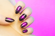 canvas print picture - pink nails manicure