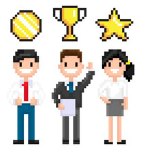 Pixelated Characters Vector, Pixel Art Game Man And Woman Working In Business Field, Holding Award For Achievement Star And Medal Certificate 8 Bit