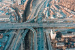 Aerial view of road junction in Moscow from above, automobile traffic and jam of many cars, road junction on the Zvenigorodskoe highway and the Third Ring Road.