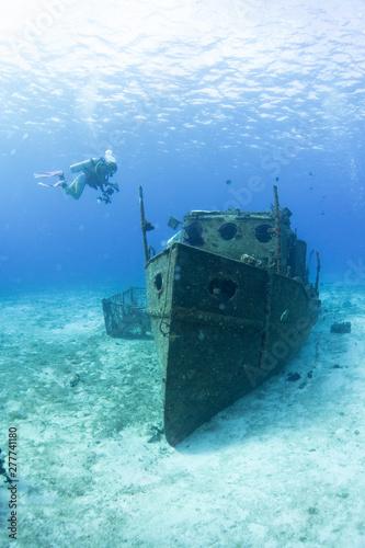 Ship wreck underwater in Cozumel Mexico Fototapeta