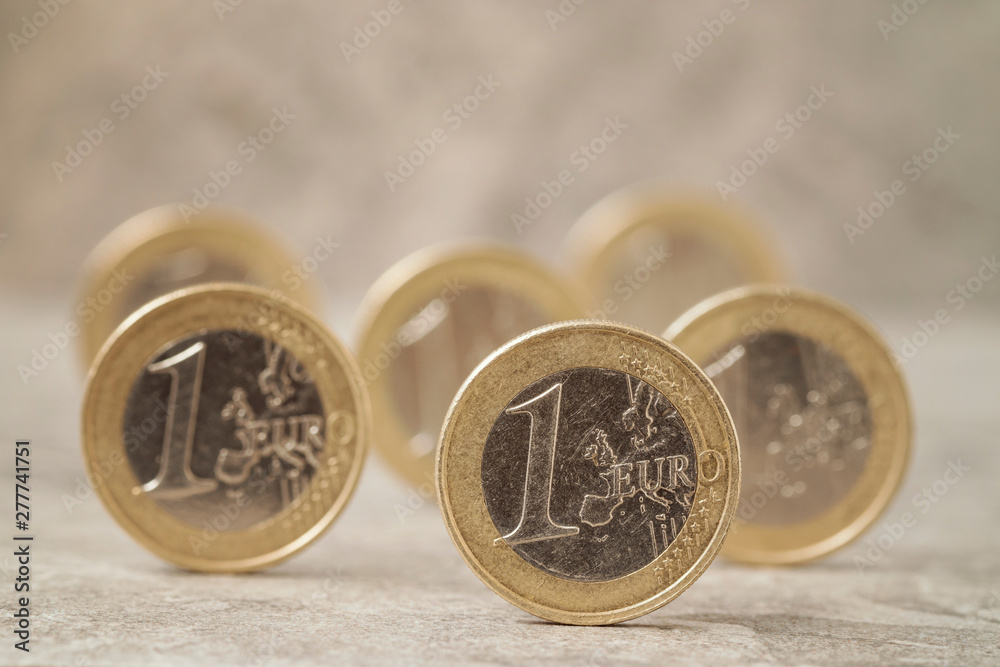 Fototapety, obrazy: Several coins of One Euro