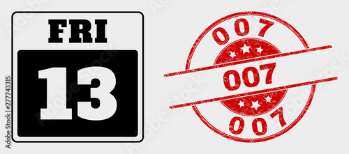 Vector 13th Friday calendar page icon and 007 watermark Canvas Print